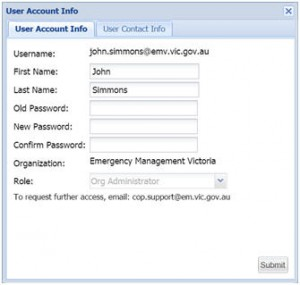 User Account Infomation screen image